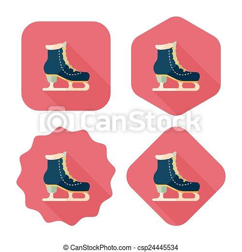 影, スケート, アイコン, eps10, 氷, 長い間, 平ら - csp24445534