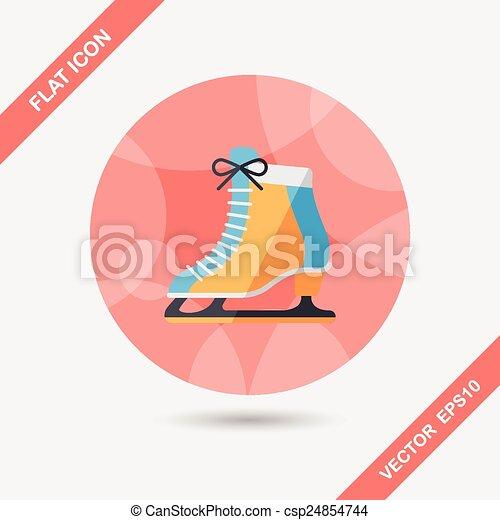 影, スケート, アイコン, eps10, 氷, 長い間, 平ら - csp24854744