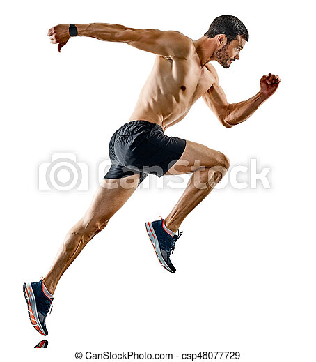 影, ランナー, 動くこと, 隔離された, ジョガー, ジョッギング, 人 - csp48077729