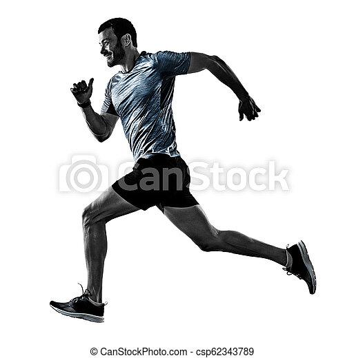 影, ランナー, 動くこと, 隔離された, ジョガー, ジョッギング, 人 - csp62343789