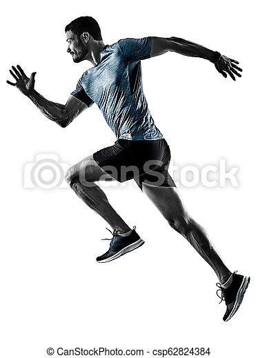 影, ランナー, 動くこと, 隔離された, ジョガー, ジョッギング, 人 - csp62824384