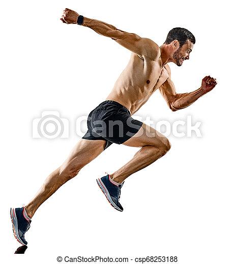 影, ランナー, 動くこと, 隔離された, ジョガー, ジョッギング, 人 - csp68253188