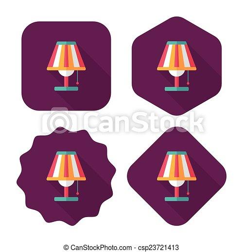影, ランプ, eps10, アイコン, テーブル, 平ら, 長い間 - csp23721413