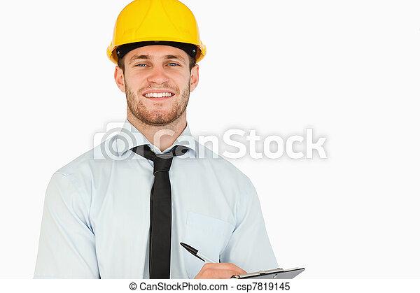 彼の, リード, 微笑, クリップボード, 労働者, 若い - csp7819145
