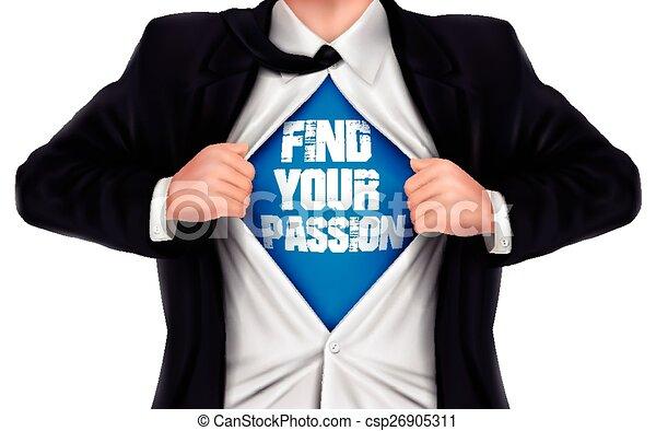 彼の, ワイシャツ, 提示, ファインド, 下に, 情熱, 言葉, ビジネスマン, あなたの - csp26905311