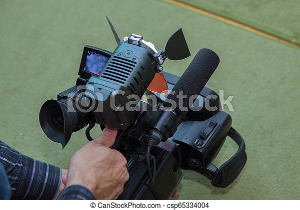 彼の, 仕事, 媒体, 装置, カメラ, ビデオ, ビデオ, オペレーター, カメラ - csp65334004