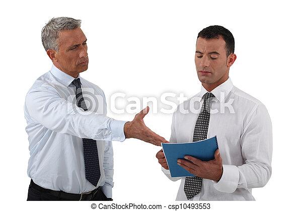 彼の, 怒る, 上司, 不快, 従業員, 表示 - csp10493553