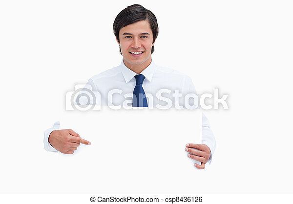彼の, 手, 印, 商人, 微笑, ブランク, 指すこと, 若い - csp8436126