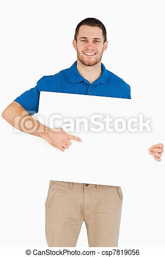 彼の, 旗, 手, セールスマン, 微笑, 指すこと, 若い - csp7819056