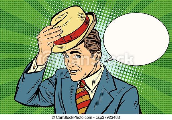 彼の, 紳士, 丁寧, 昇給, 帽子, こんにちは - csp37923483