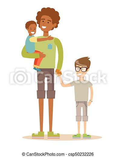 彼の, family., 父, 2, 持つこと, time., レース, 混ぜられた, 子供, すてきである - csp50232226