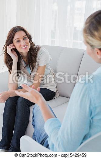 彼女, セラピスト, 話し, モデル, 女, 幸せ - csp15429459