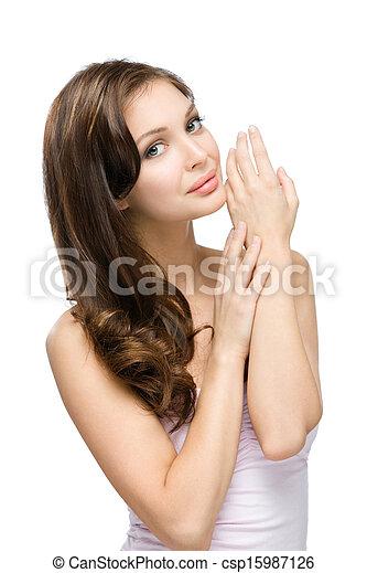 彼女, 手, 感動的である, 肖像画, 女の子, 半分長さ - csp15987126