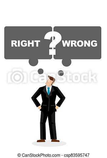 彼, スピーチ, 権利, 人, wrong., 描きなさい, 考え, はっきりしない, ビジネス, ∥あるいは∥, leader., 泡, もし - csp83595747