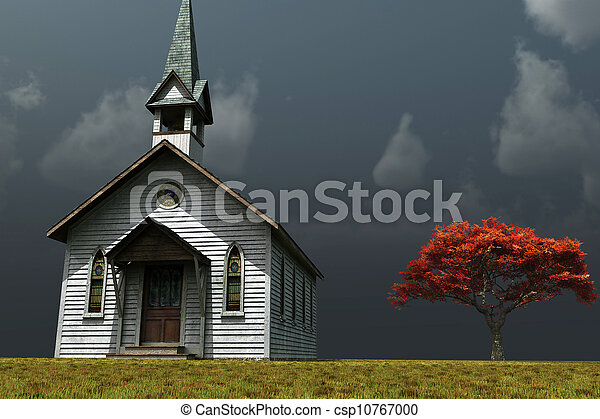 很少, 教堂, prarie - csp10767000