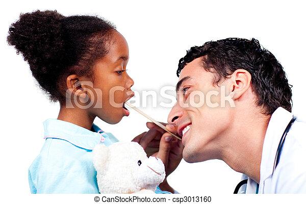 很少, 醫生, 檢查, girl\'s, 年輕, 咽喉 - csp3013160