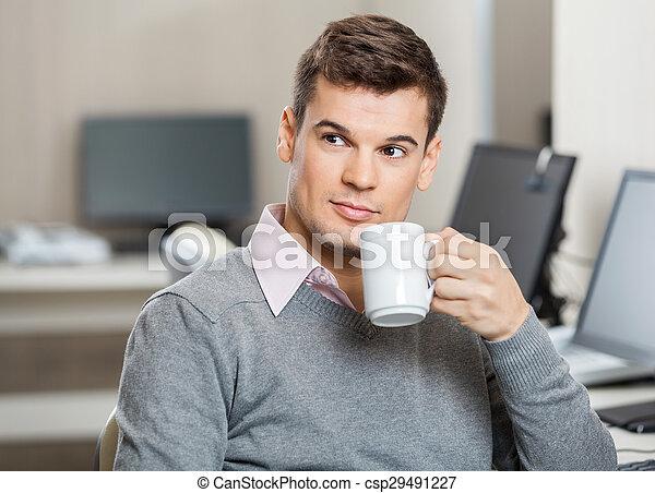 従業員, コーヒー, 呼出し 中心, 持つこと - csp29491227
