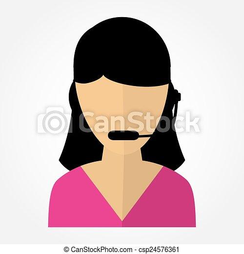 従業員, 女の子, ヘッドホン, 呼出し 中心 - csp24576361