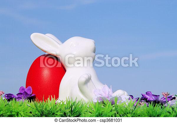 復活節蛋, 花, 天空, 草地 - csp3681031