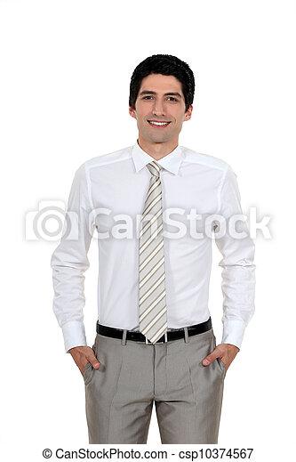 微笑, すべて, ハンサム, 若い, ビジネスマン - csp10374567