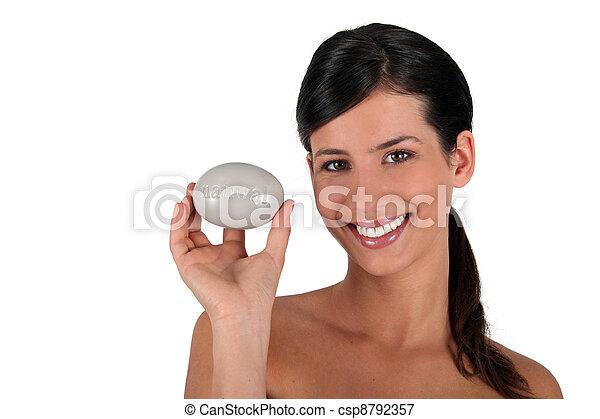微笑, すべて, ブルネット, 石鹸, 保有物 - csp8792357