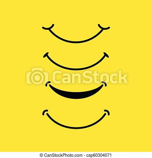 微笑, デザイン, ベクトル, セット, テンプレート - csp60304071