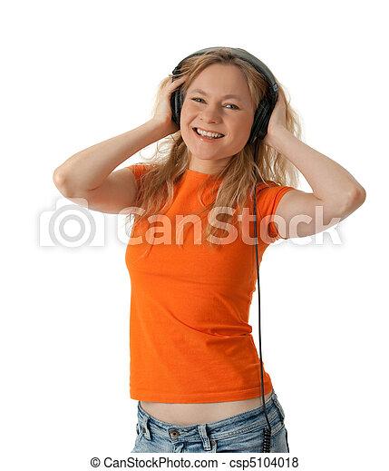 微笑, ヘッドホン, 音楽, 女の子, 聞くこと - csp5104018
