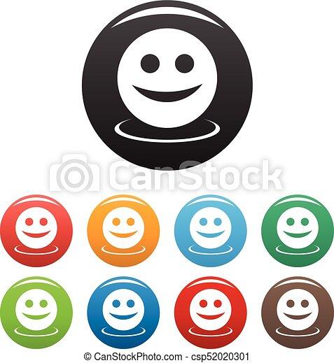 微笑, ベクトル, セット, アイコン - csp52020301
