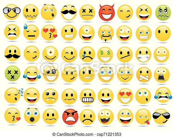 微笑, ベクトル, セット, イラスト, アイコン - csp71221353