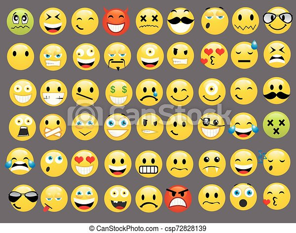 微笑, ベクトル, セット, イラスト, アイコン - csp72828139