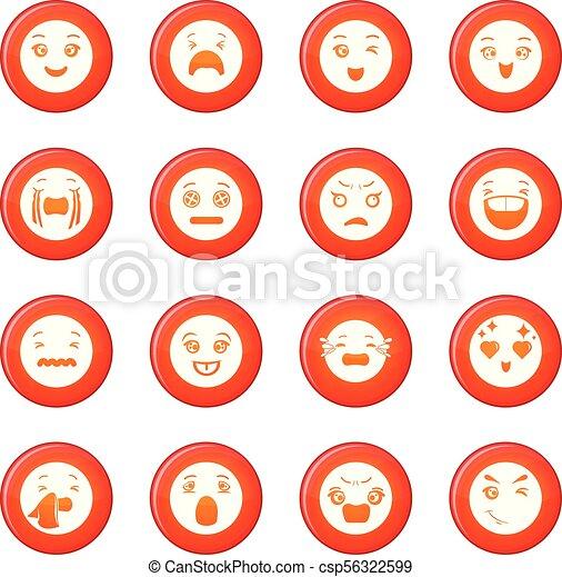 微笑, ベクトル, セット, 赤, アイコン - csp56322599