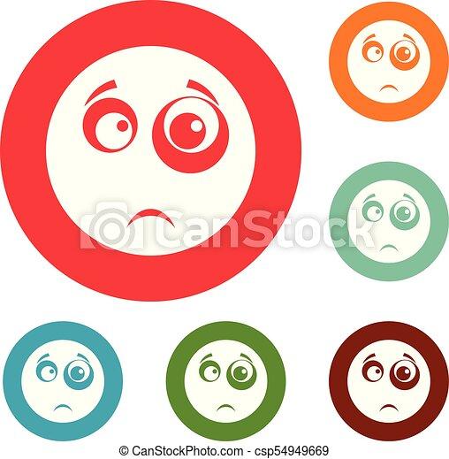 微笑, 円, ベクトル, セット, アイコン - csp54949669