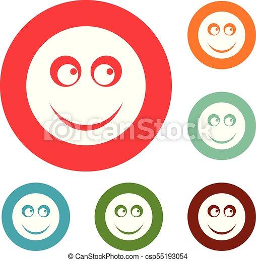 微笑, 円, ベクトル, セット, アイコン - csp55193054