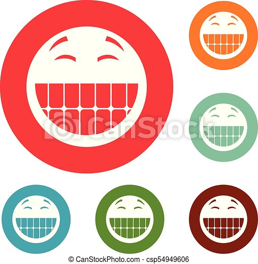 微笑, 円, ベクトル, セット, アイコン - csp54949606
