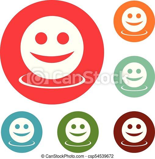 微笑, 円, ベクトル, セット, アイコン - csp54539672