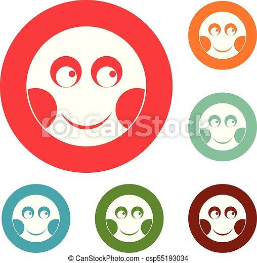 微笑, 円, ベクトル, セット, アイコン - csp55193034