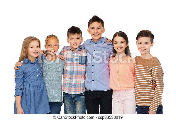 微笑, 子供, 抱き合う, 幸せ - csp33538019