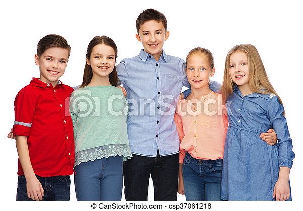 微笑, 子供, 抱き合う, 幸せ - csp37061218