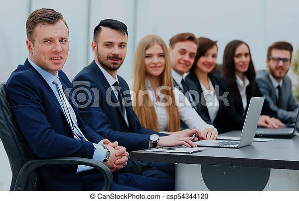 微笑, 線, カメラ。, ビジネス チーム - csp54344120