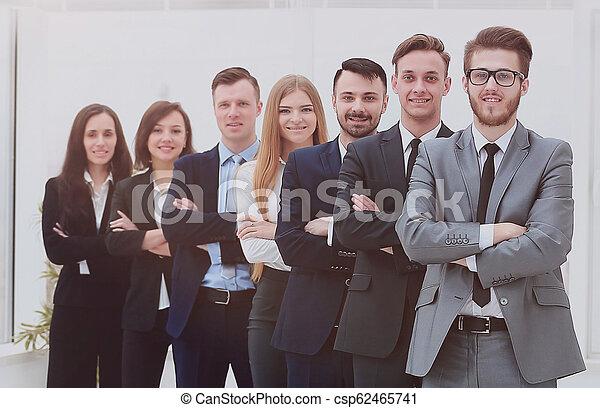 微笑, 線, カメラ。, ビジネス チーム - csp62465741