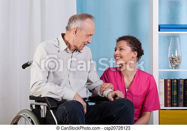 微笑, 輪椅, 病人, 護士, 坐 - csp20728123