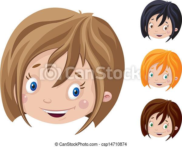 微笑, 頭, 女の子 - csp14710874