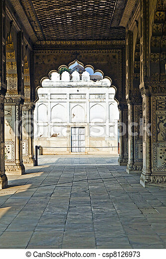 德里, lal, qila, 鑲嵌, 印度, 私人, 或者, diwan, 觀眾, 紅色, 拱, khas, 大理石, 大廳, 專欄, 堡壘 - csp8126973