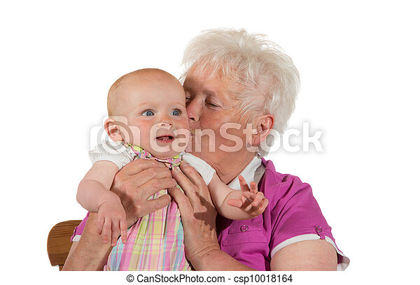 心づかい, 接吻, 彼女, 孫, おばあさん - csp10018164