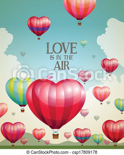 心の形をしている, 暑い, 風船, 空気 - csp17809178