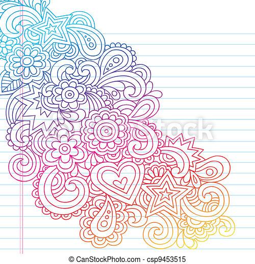 心不在焉地亂寫亂畫, 花, 矢量, outline - csp9453515