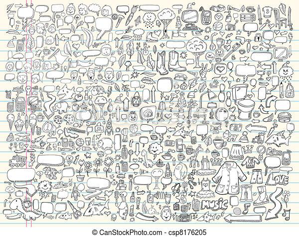 心不在焉地亂寫亂畫, 設計, 矢量, 集合, 元素 - csp8176205