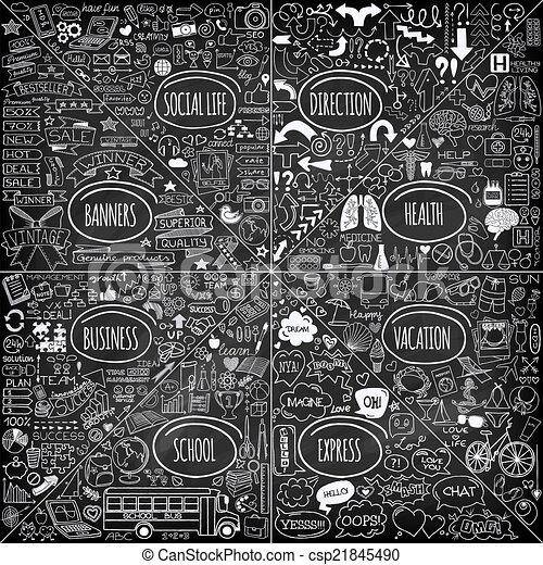心不在焉地亂寫亂畫, 集合, mega, icons. - csp21845490