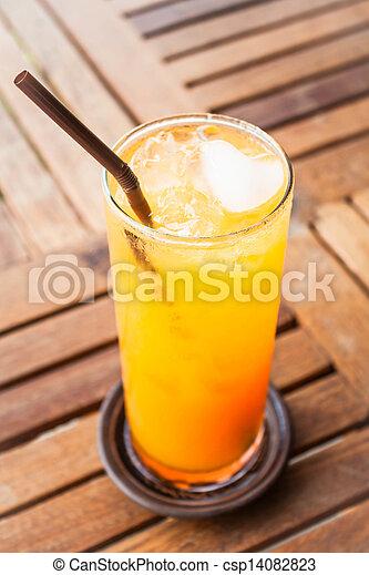 心, オレンジジュース, 新たに, 立方体, 氷 - csp14082823