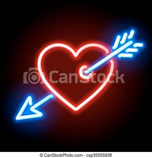 心, キューピッド, 赤い矢印, 穴を開けられる - csp35055938